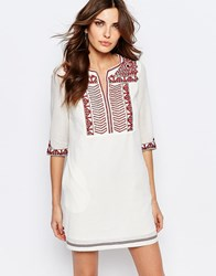 See U Soon Tunic Dress With Pockets With Embroidered Placket Off Whi Purple Red White
