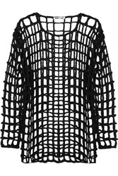 Mcq By Alexander Mcqueen Open Knit Braided Cotton Mini Dress Black