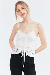 Kimchi And Blue Pointelle Sweater Knit Cami Ivory