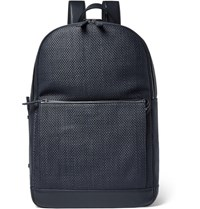 Ermenegildo Zegna Pelle Tessuta Leather Backpack Navy