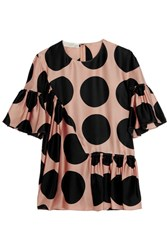 Stella Mccartney Ruched Polka Dot Silk Top Blush