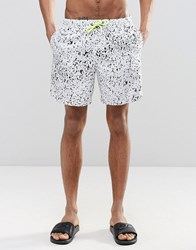 Asos Swim Shorts With Splatter Print And Neon Drawcord In Mid Length White Yellow