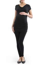 Women's Kimi And Kai Ruched Cowl Neck Maternity Tee Black