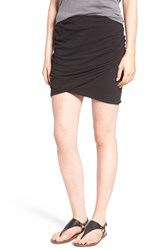 James Perse Women's Ruched Surplice Skirt Black
