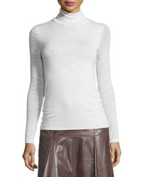 Halston Long Sleeve Slim Turtleneck Tee Chalk