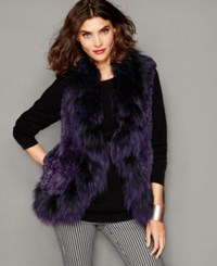 The Fur Vault Fox Trim Knitted Chinchilla Fur Vest Purple