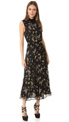 Suno Embroidered Ruffle Dress Black Gold
