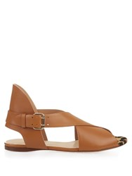 Francesco Russo Peep Toe Calf Hair And Leather Sandals Tan