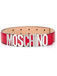 Moschino Logo Plaque Belt Red