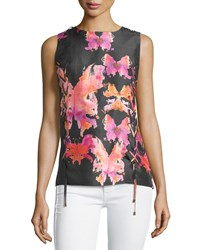 See By Chloe Watercolor Butterfly Sleeveless Blouse Black Pink