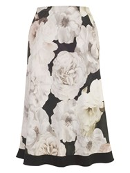 Chesca Rose Print Skirt With Contrast Trim Multi Coloured
