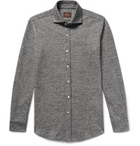 Tod's Slim Fit Puppytooth Virgin Wool And Cotton Blend Shirt Gray