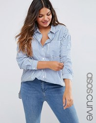 Asos Curve Oversized Cotton Shirt In Stripe Blue White Multi