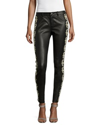 Haute Hippie Skinny Embellished Leather Pants Black