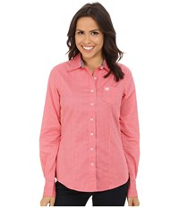 Cinch Cotton Plain Weave Fit Coral Women's Long Sleeve Button Up