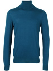 Paolo Pecora Turtleneck Fine Knit Jumper Blue
