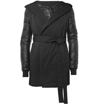 Rick Owens Down Filled Contrast Sleeve Coat