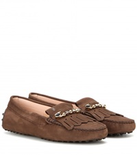 Tod's Heaven Frangia Spilla Suede Loafers Brown