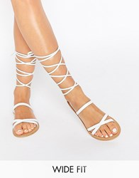 Asos Finder's Keepers Wide Fit Leather Lace Up Sandals White