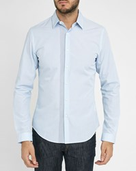 Ikks Sky Blue Shirt With Black Pattern On Button Placket