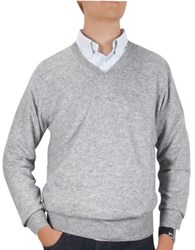 Forzieri Men's Light Gray Cashmere V Neck Sweater