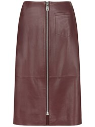 Jaeger Leather Zip Front Skirt Bordeaux
