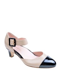 Taryn Rose Toody Leather Pumps Beige Black