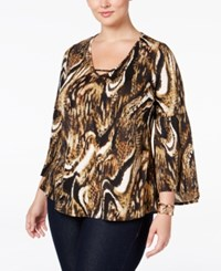 Ny Collection Plus Size Bell Sleeve Printed Top Brown Revenge