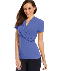 Charter Club Short Sleeve Crossover Hardware Top Worldly Blue