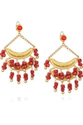 Kenneth Jay Lane Gold Plated Resin Drop Earrings Red