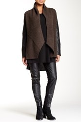 Eileen Fisher Shawl Collar Merino Wool And Leather Jacket Petite Brown