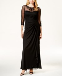 Patra Embellished Illusion Draped Gown Black
