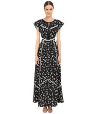 The Kooples Feather Print Long Dress In Silk With Ladder Stitch Detail Black Women's Dress