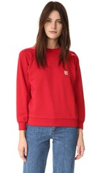 Maison Kitsune Fox Patch Sweatshirt Red