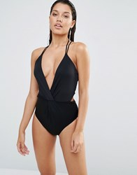 Lavish Alice Strappy Back Swimsuit Black
