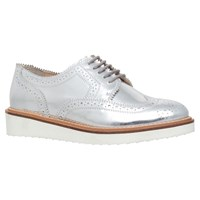 Kg By Kurt Geiger Knox Mid Wedge Heeled Brogues Silver Leather