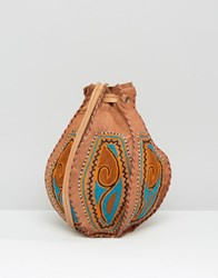 Reclaimed Vintage Hand Embroidered Mini Leather Pouch Bag Tan