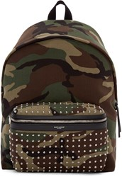 Saint Laurent Green And Brown Canvas Camouflage Backpack