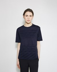 Jil Sander Pleated Tee Navy