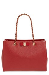 Salvatore Ferragamo 'Melike' Saffiano Leather Shopper Red Rosso