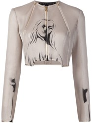 Dominic Louis Printed Mesh Jacket Nude And Neutrals