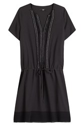 Steffen Schraut Drawstring Dress With Decorative Stitching Black