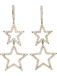 Rosa De La Cruz Burnished Gold And Brown Diamond Star Earring