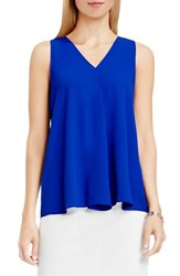 Vince Camuto Petite Women's Drape Front V Neck Sleeveless Blouse Optic Blue