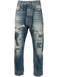 R 13 R13 Distressed Drop Crotch Jeans Blue