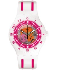 Swatch Unisex Feel The Wave Swiss White And Pink Bi Injection Silicon Strap Watch 42Mm Suuw101 Multi