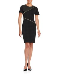 Karl Lagerfeld Short Sleeve Quilted Houndstooth Sheath Dress Black