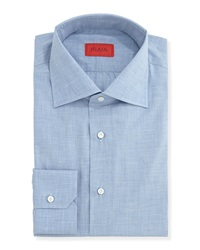 Isaia Woven Chambray Solid Dress Shirt Light Blue