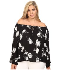 Christin Michaels Plus Size Iris Off The Shoulder Top With Front Tie Black White Women's Clothing