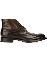 Brogue Style Ankle Boots Brown